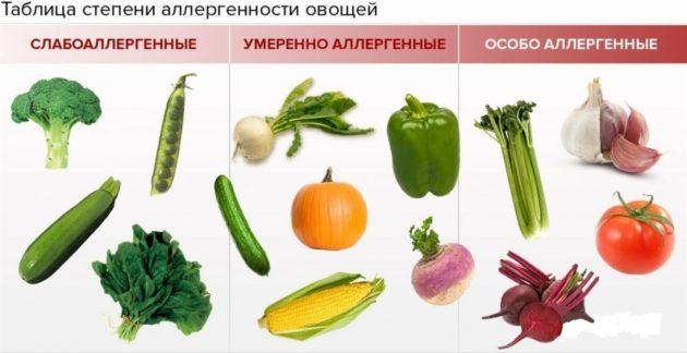 Аллергенность овощей